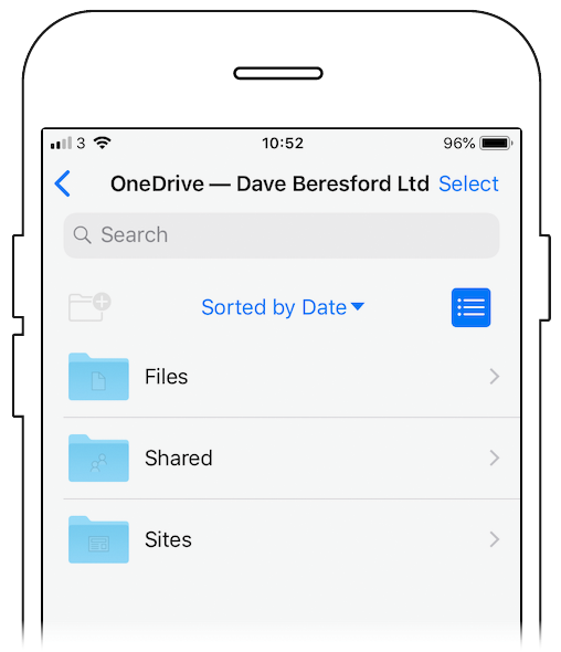 OneDrive open on an iPhone