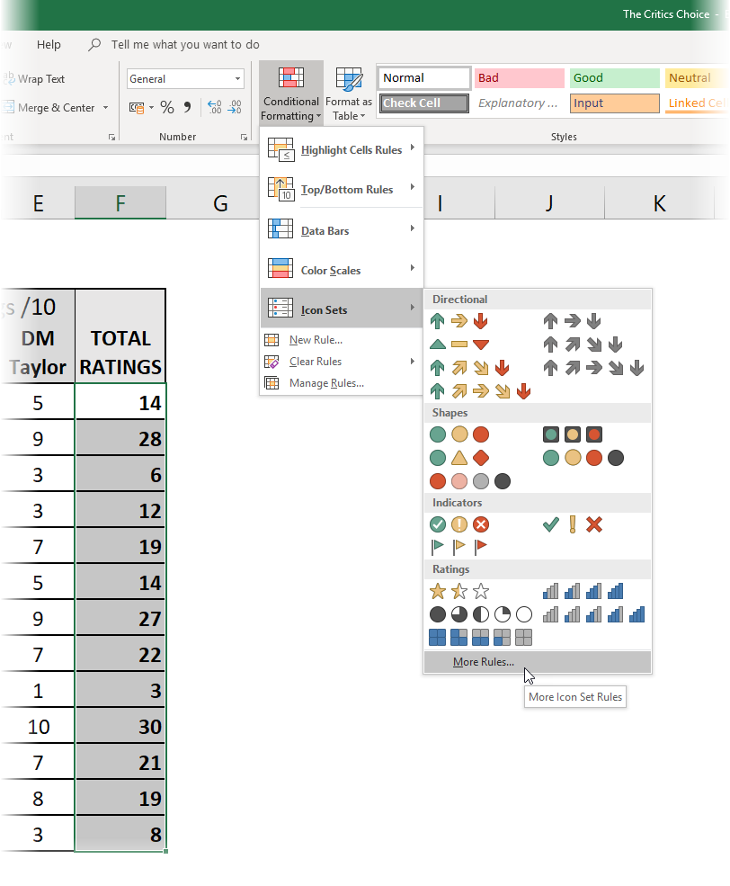 Selecting Conditional Formatting - Icon Sets - More Rules