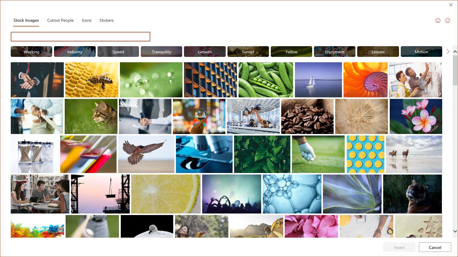 Stock Images dialog box
