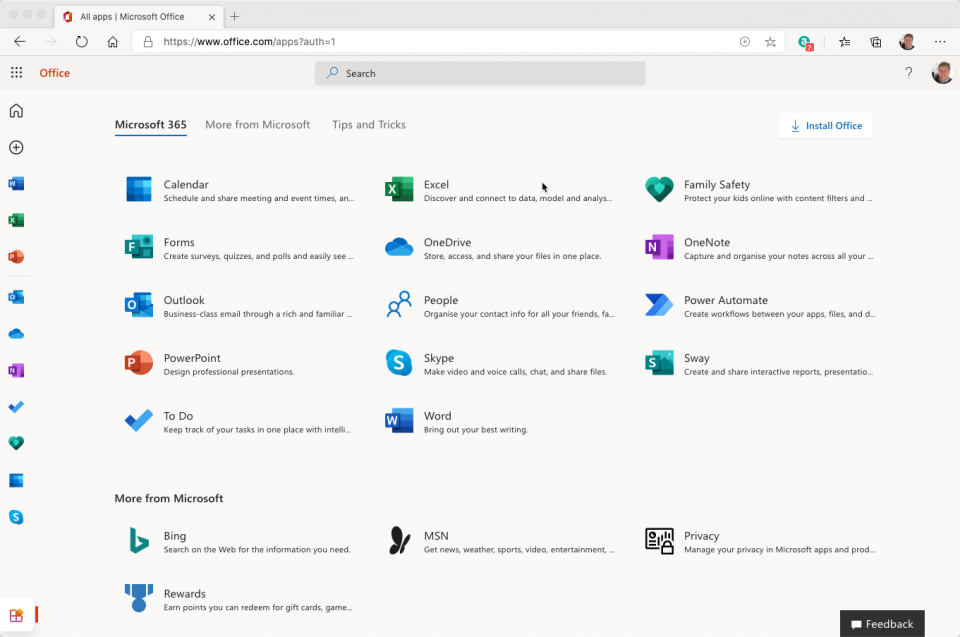 All Apps page from Microsoft 365 Home User version