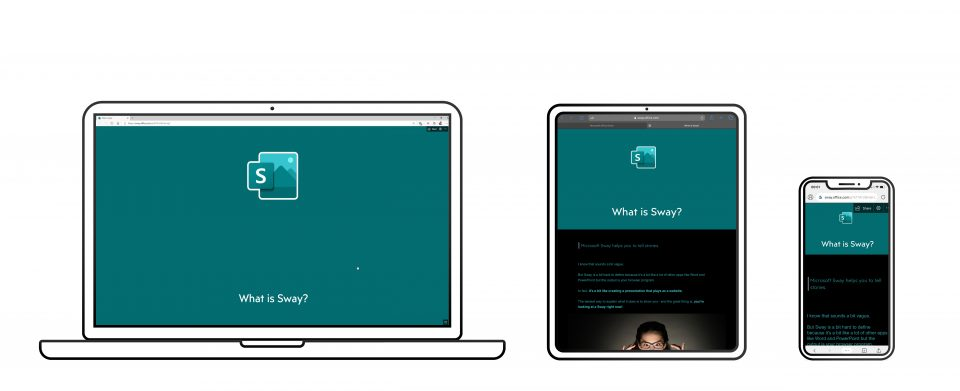 A Sway showing on 3 different devices, laptop, tablet and smartphone