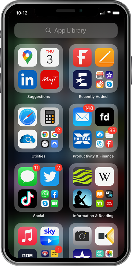 App Library on iPhone screenshot