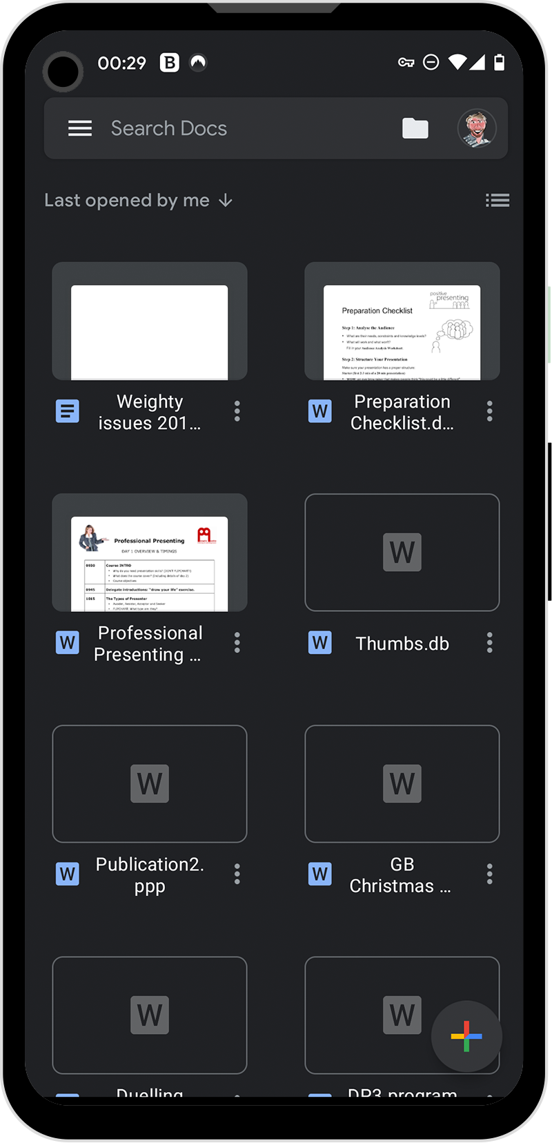 Google Docs on an Android phone
