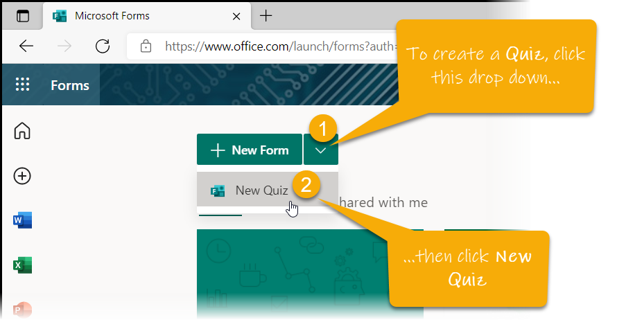 Screenshot showing the dropdown menu for creating a new Quiz in Forms