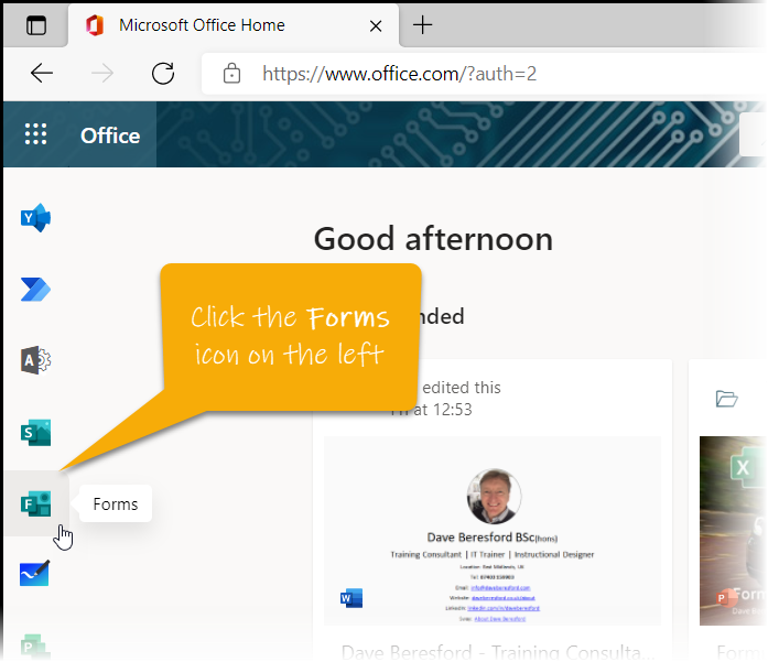 The Forms icon showing in the office.com homepage